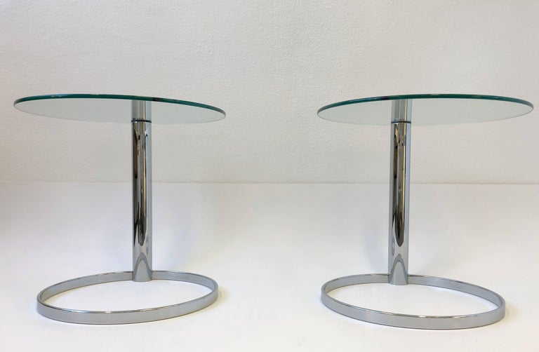 Modern Pair of Chrome and Glass Side Tables by John Mascheroni for Swaim For Sale