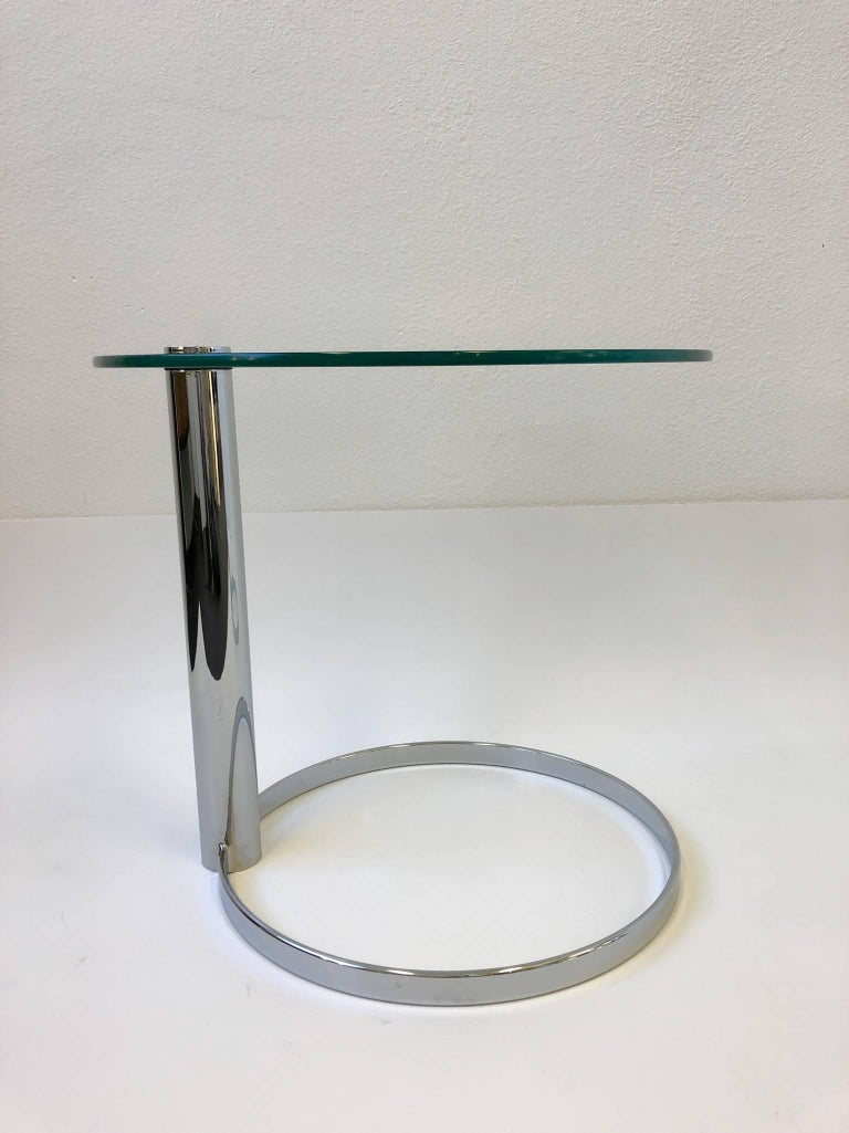 Polished Pair of Chrome and Glass Side Tables by John Mascheroni for Swaim For Sale
