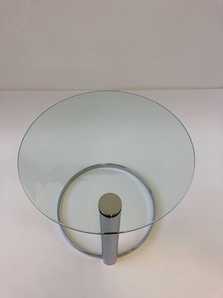Pair of Chrome and Glass Side Tables by John Mascheroni for Swaim In Excellent Condition For Sale In Palm Springs, CA