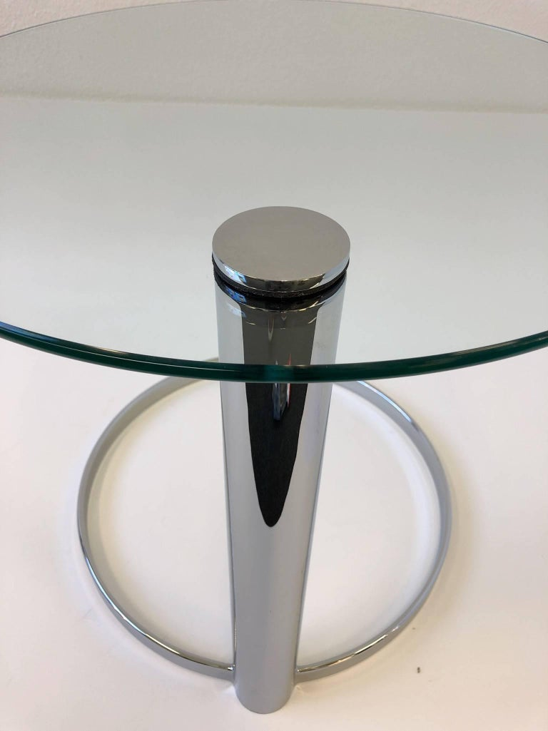Late 20th Century Pair of Chrome and Glass Side Tables by John Mascheroni for Swaim For Sale