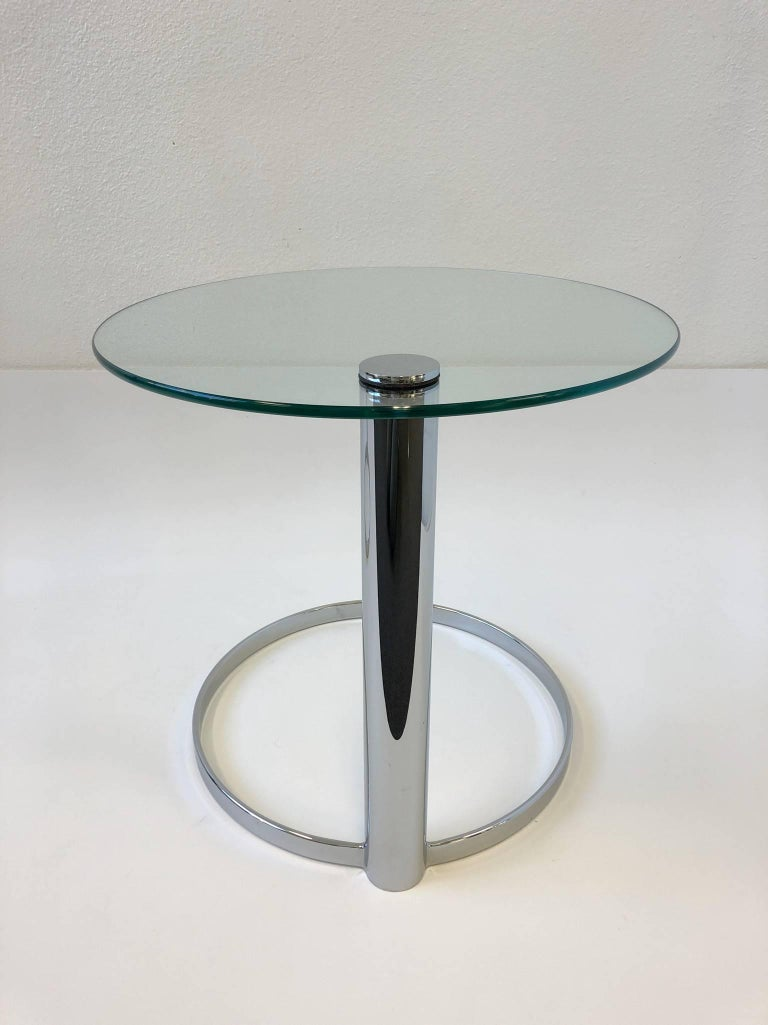 Pair of Chrome and Glass Side Tables by John Mascheroni for Swaim For Sale 1