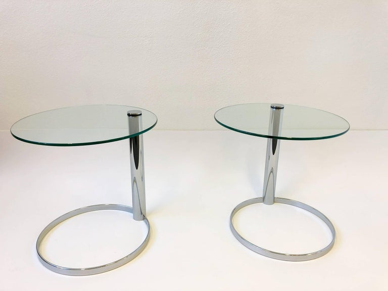Pair of Chrome and Glass Side Tables by John Mascheroni for Swaim For Sale 2