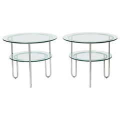 Pair of Chrome and Glass Tables