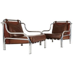 "Pair of Chrome and Leather ""Stringa"" Armchairs by Gae Aulenti, 1972"
