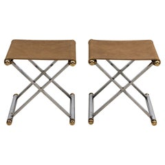 Pair of Chrome and Suede X-Frame Benches
