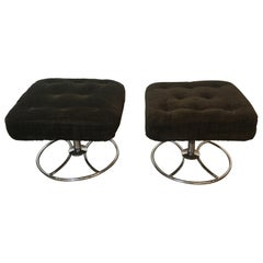 Pair of Chrome and Velvet Swivel Ottoman, French, circa 1970
