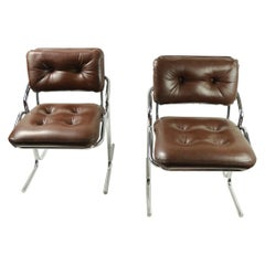 Pair of Chrome and Vinyl Chairs by Jerry Johnson