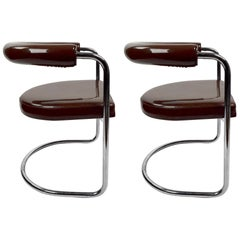 Pair of Chrome and Vinyl Delphi Chairs by Burgdorfer for Stendig