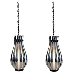 Pair of Chrome and White Glass Pendant Lamps by Sonneman