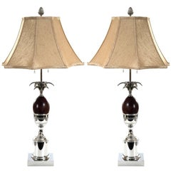 Pair of Chrome and Wood Pineapple Form Table Lamps