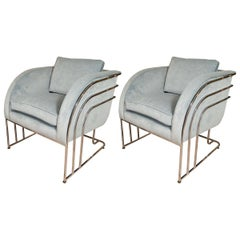 Pair of Chrome Arched Frame Armchairs