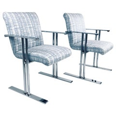 Pair of Chrome Armchairs by Directional