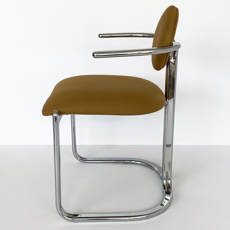 Pair of Chrome Armchairs by Gastone Rinaldi for Thema Italy For Sale 4