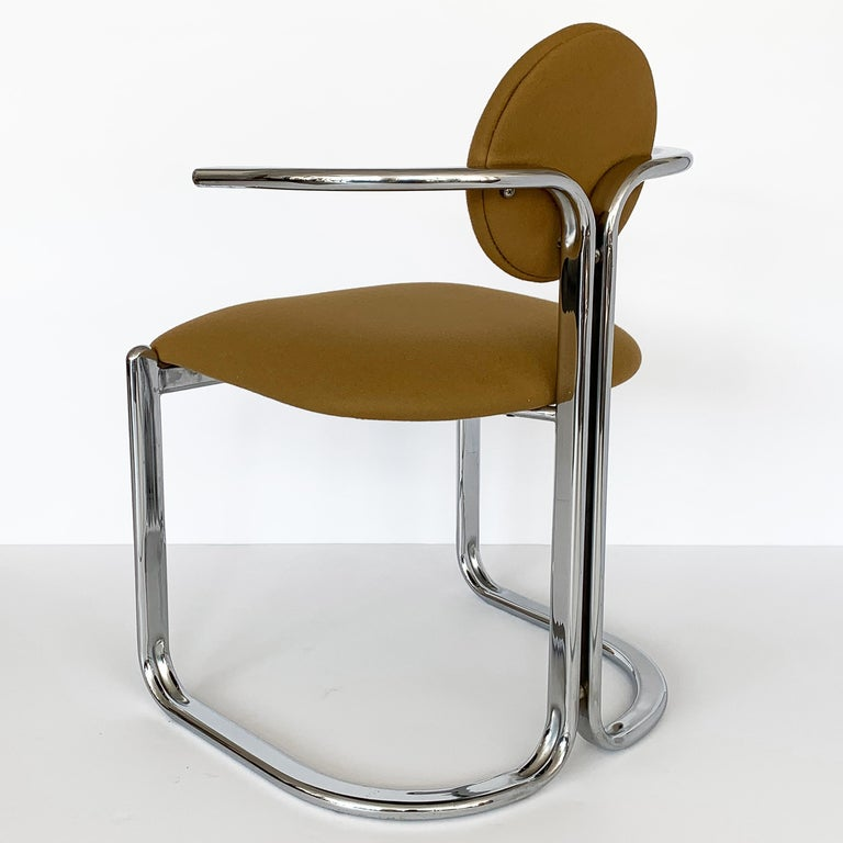 Pair of Chrome Armchairs by Gastone Rinaldi for Thema Italy For Sale 5