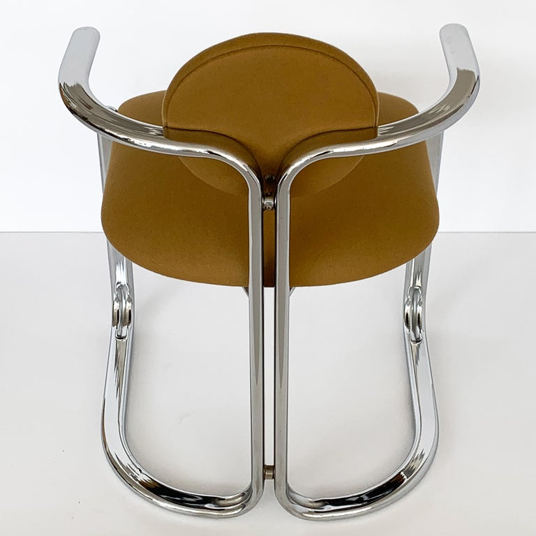 Pair of Chrome Armchairs by Gastone Rinaldi for Thema Italy For Sale 6