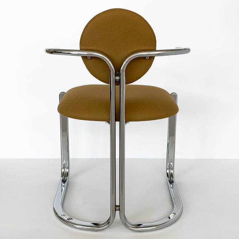 Pair of Chrome Armchairs by Gastone Rinaldi for Thema Italy For Sale 7