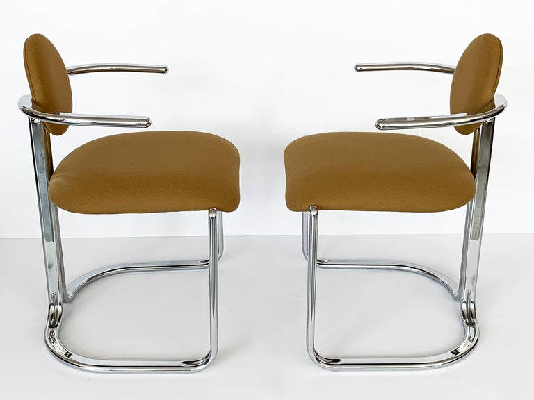Italian Pair of Chrome Armchairs by Gastone Rinaldi for Thema Italy For Sale