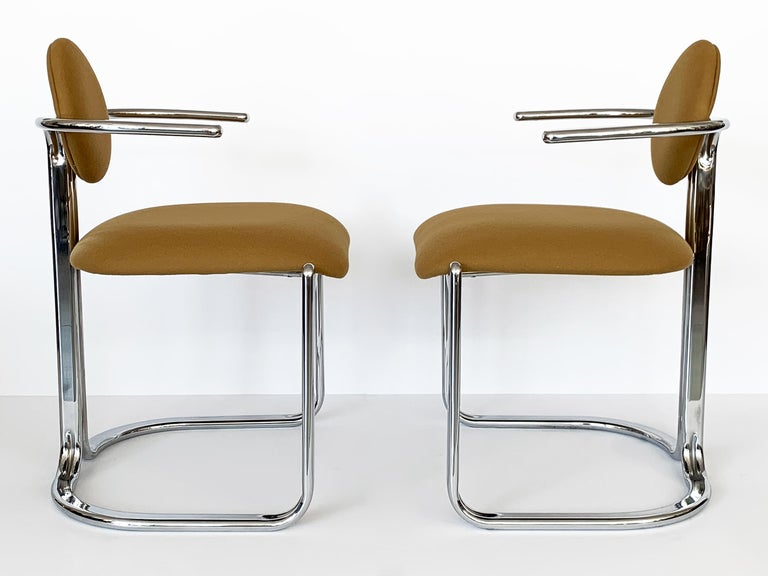 Pair of Chrome Armchairs by Gastone Rinaldi for Thema Italy In Good Condition For Sale In Chicago, IL