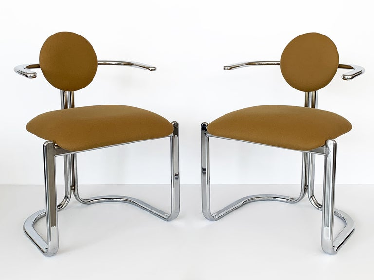 Late 20th Century Pair of Chrome Armchairs by Gastone Rinaldi for Thema Italy For Sale