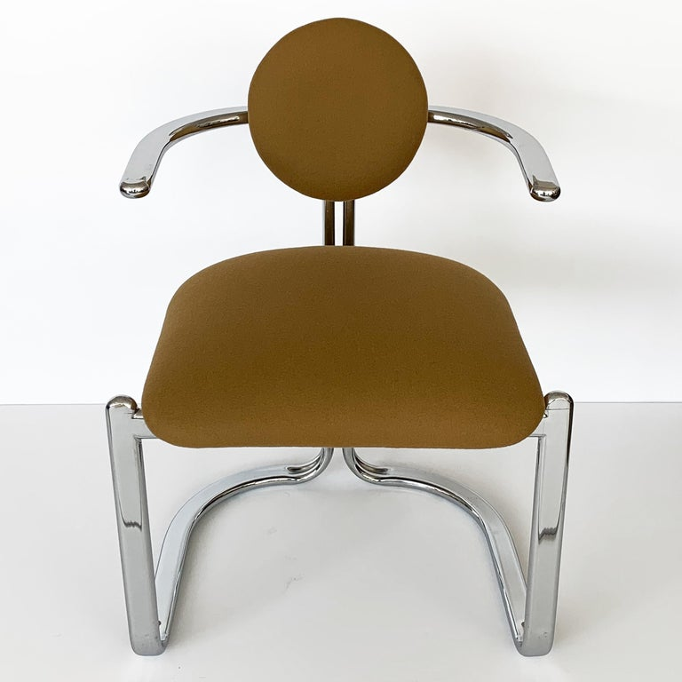 Upholstery Pair of Chrome Armchairs by Gastone Rinaldi for Thema Italy For Sale