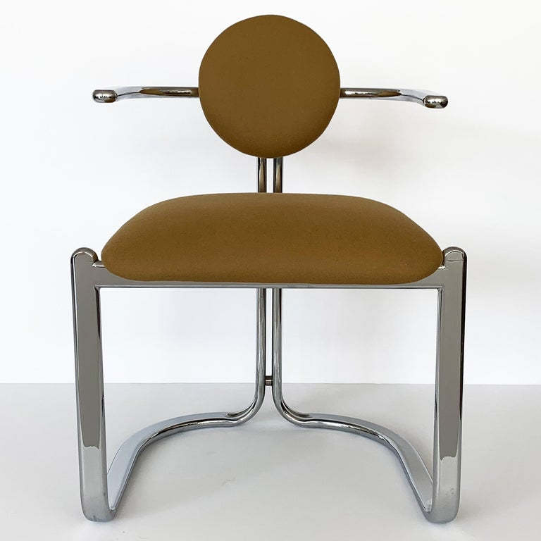 Pair of Chrome Armchairs by Gastone Rinaldi for Thema Italy For Sale 1