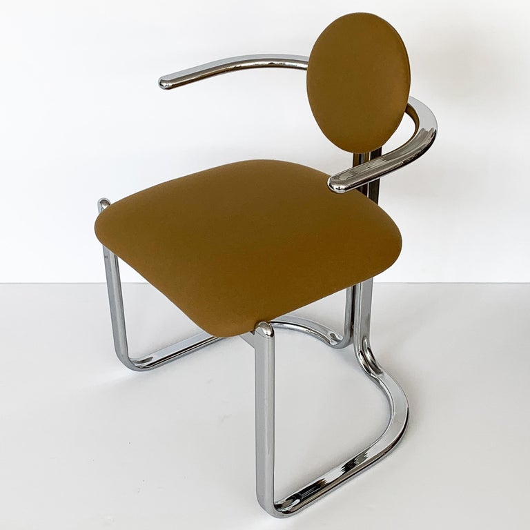 Pair of Chrome Armchairs by Gastone Rinaldi for Thema Italy For Sale 2