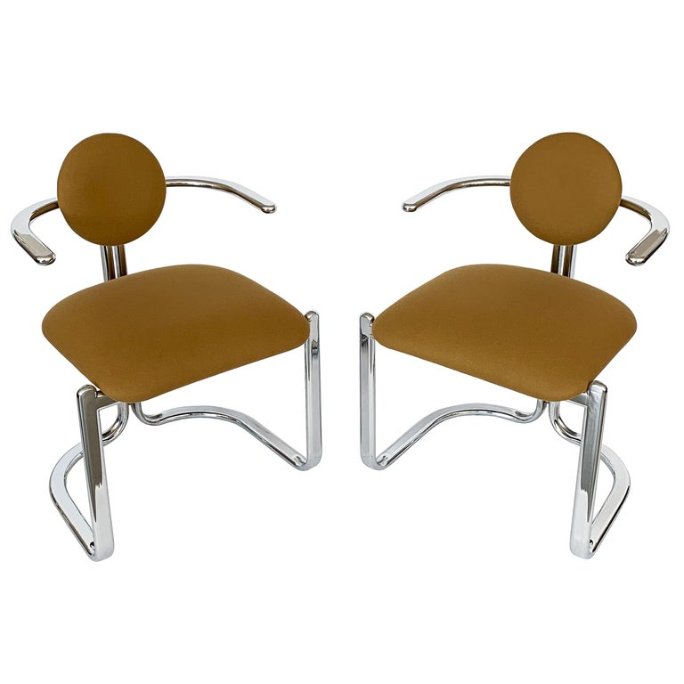Pair of Chrome Armchairs by Gastone Rinaldi for Thema Italy For Sale