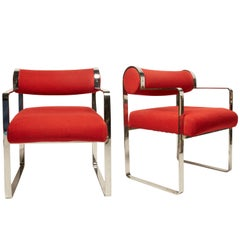 Pair of Chrome Armchairs in Style of Gastone Rinaldi