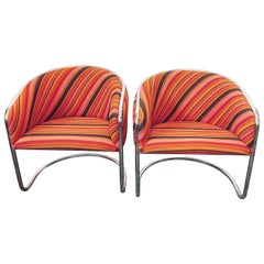 Pair of Chrome Barrel Chairs by Anton Lorenz for Thonet, circa 1970s