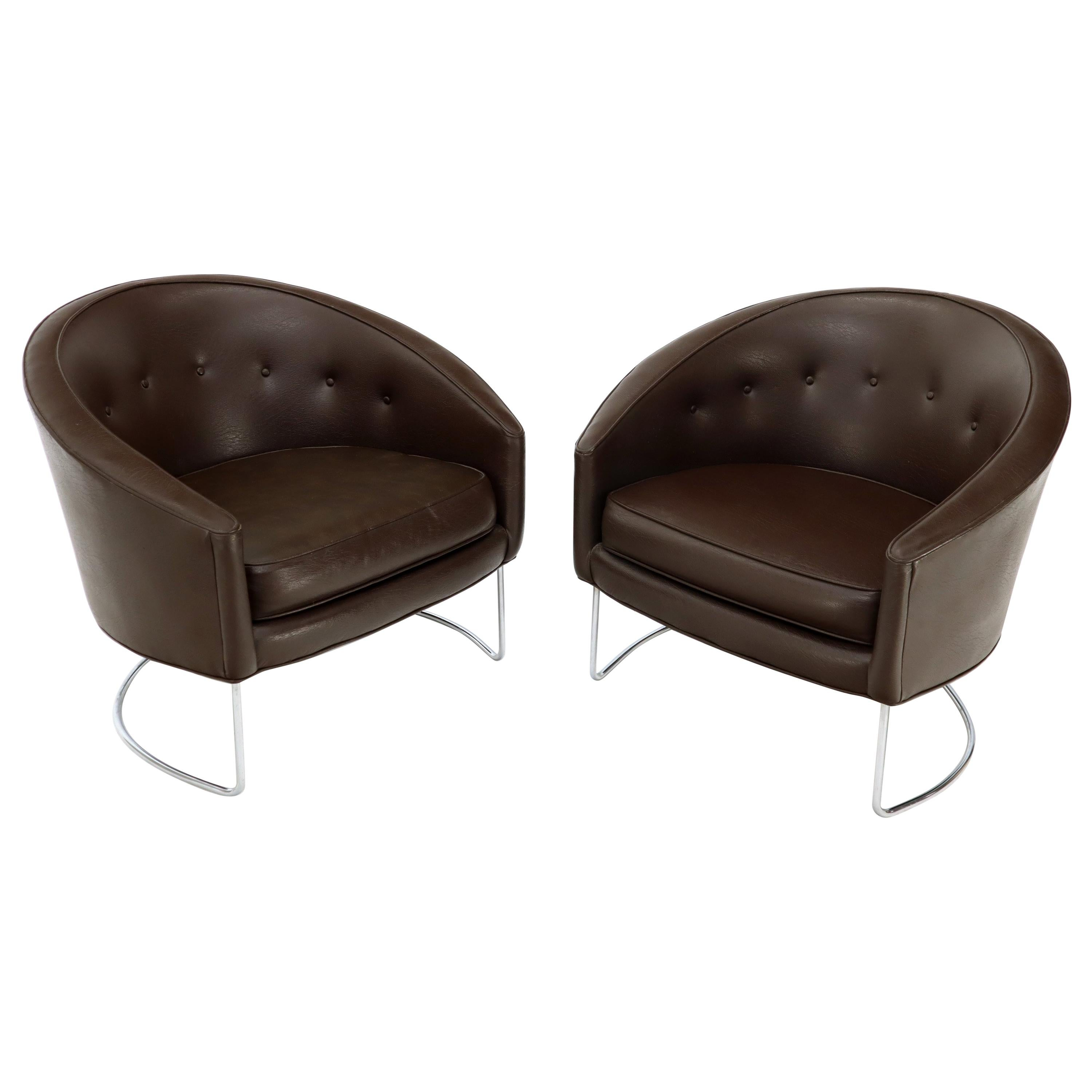 Pair of Chrome Bases Barrel Back Tub Chairs
