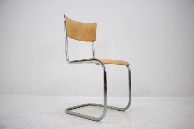 Mid-20th Century Pair of Chrome Bauhaus Robert Slezák Chairs, 1930s For Sale