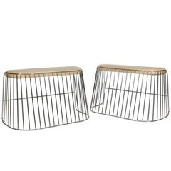 Pair of Chrome Benches by Phase Design
