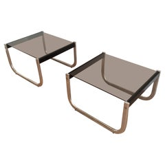 Pair of Chrome, Black Wood and Glass Side Tables, Circa 1970