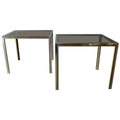 Pair of Chrome, Brass and Smoked Glass Side Tables by Romeo Rega, circa 1970