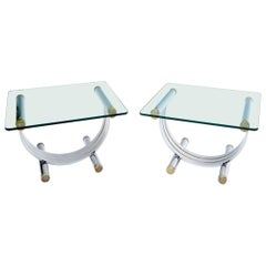 Pair of Chrome & Brass U Shape Bases Glass Top End Side Occasional Tables