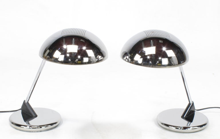 Pair of Chrome Cantilever Desk Lamps with Domed Shade, circa 1960s For Sale 3