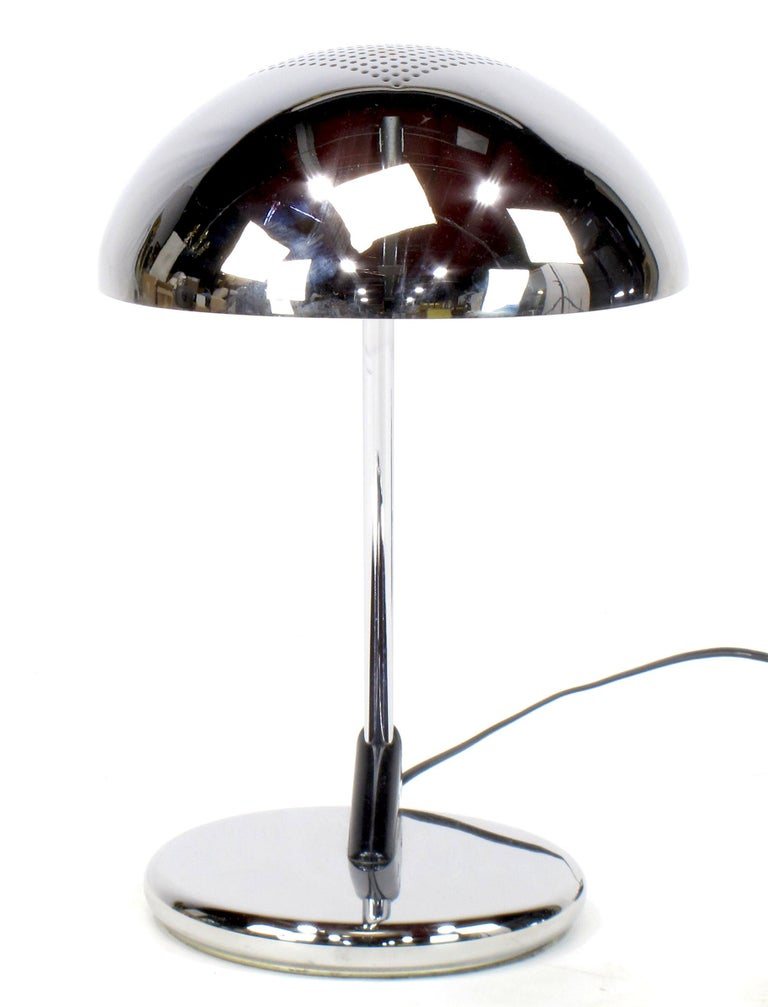 German Pair of Chrome Cantilever Desk Lamps with Domed Shade, circa 1960s For Sale
