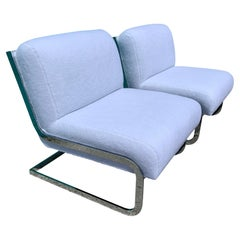 Pair of Chrome Cantilever Lounge Chairs Attributed to Milo Baughman