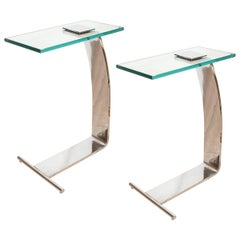 Pair of Chrome Cantilevered Side Tables