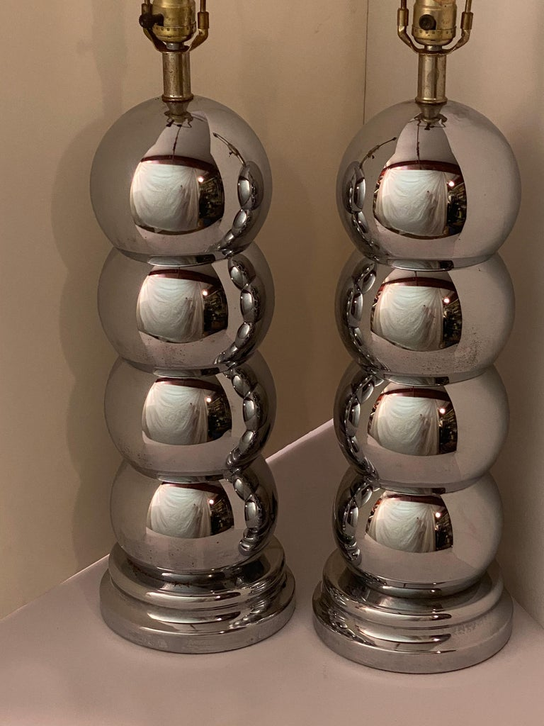 Mid-Century Modern Pair of Chrome Caterpillar Table Lamps by Clover For Sale