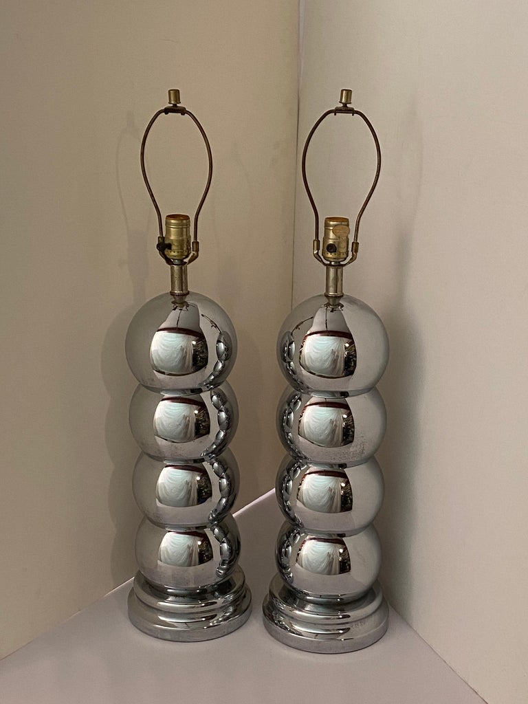 American Pair of Chrome Caterpillar Table Lamps by Clover For Sale