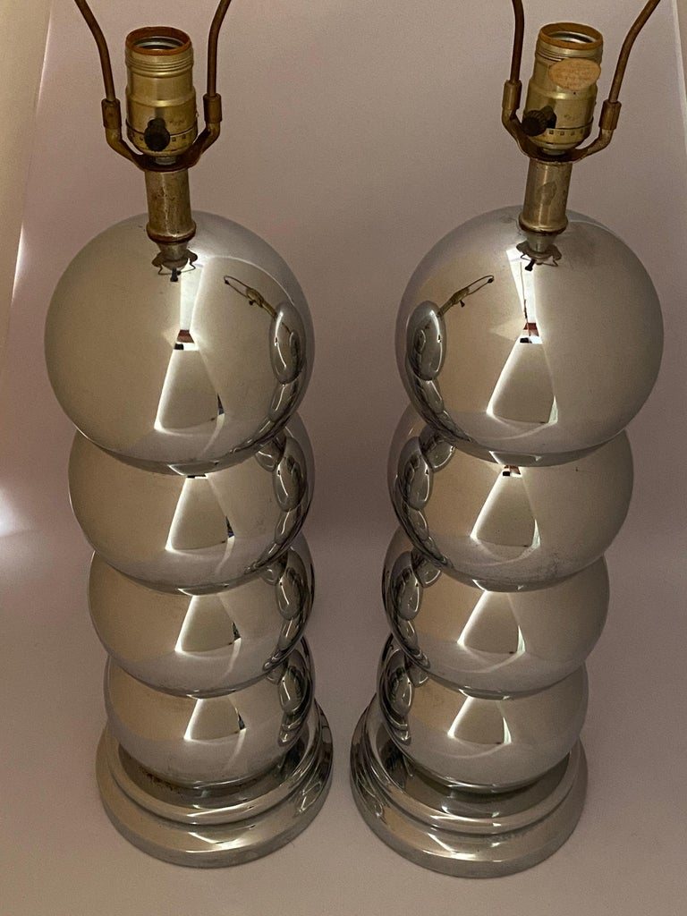 Pair of Chrome Caterpillar Table Lamps by Clover In Good Condition For Sale In Garnerville, NY