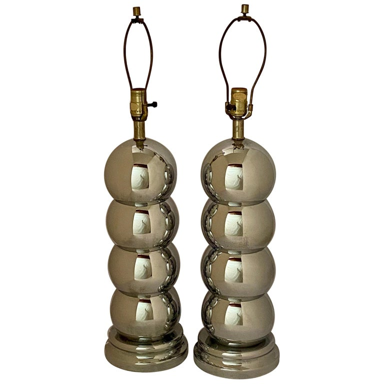 Pair of Chrome Caterpillar Table Lamps by Clover For Sale