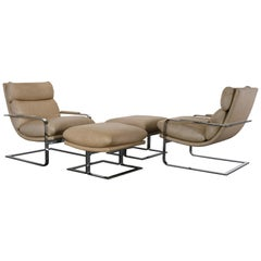 Pair of Chrome Chairs and Ottomans by Directional, 1970s