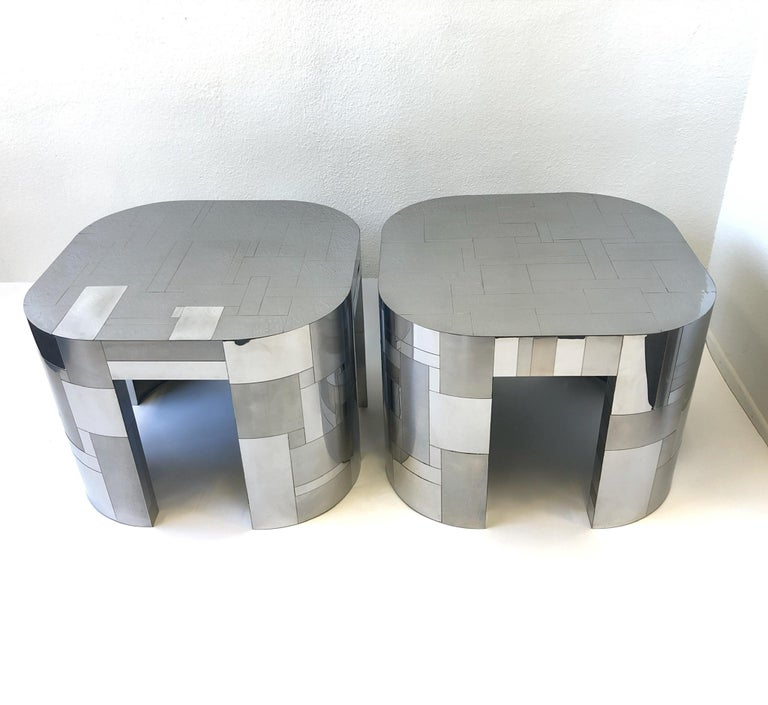 Modern Pair of Chrome Cityscape Side Tables by Paul Evans