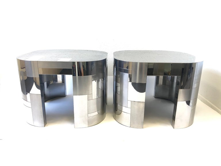 American Pair of Chrome Cityscape Side Tables by Paul Evans