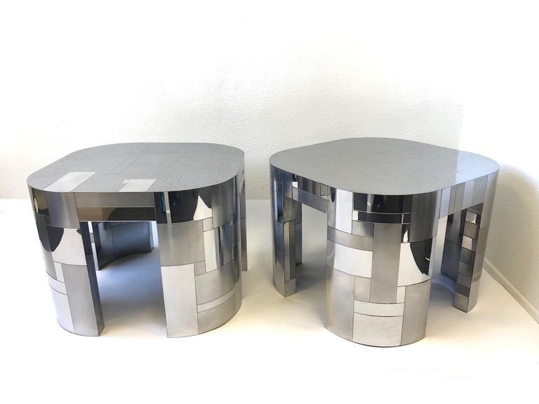 Polished Pair of Chrome Cityscape Side Tables by Paul Evans