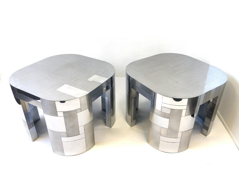 Late 20th Century Pair of Chrome Cityscape Side Tables by Paul Evans