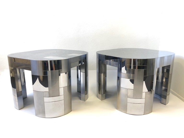 Pair of Chrome Cityscape Side Tables by Paul Evans 1