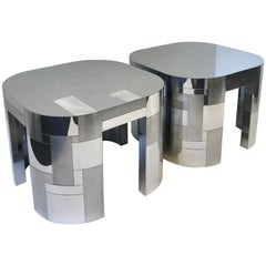 Pair of Chrome Cityscape Side Tables by Paul Evans
